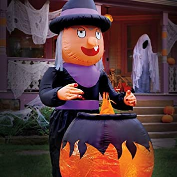 8 airblown inflatable witch w cauldron animated halloween decoration