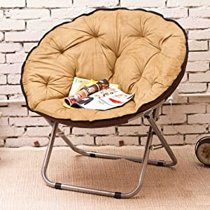 Chairs Single Moon Lazy Radar Lunch Break Folding Recliner Sun Home Decoration (Color : Khaki)