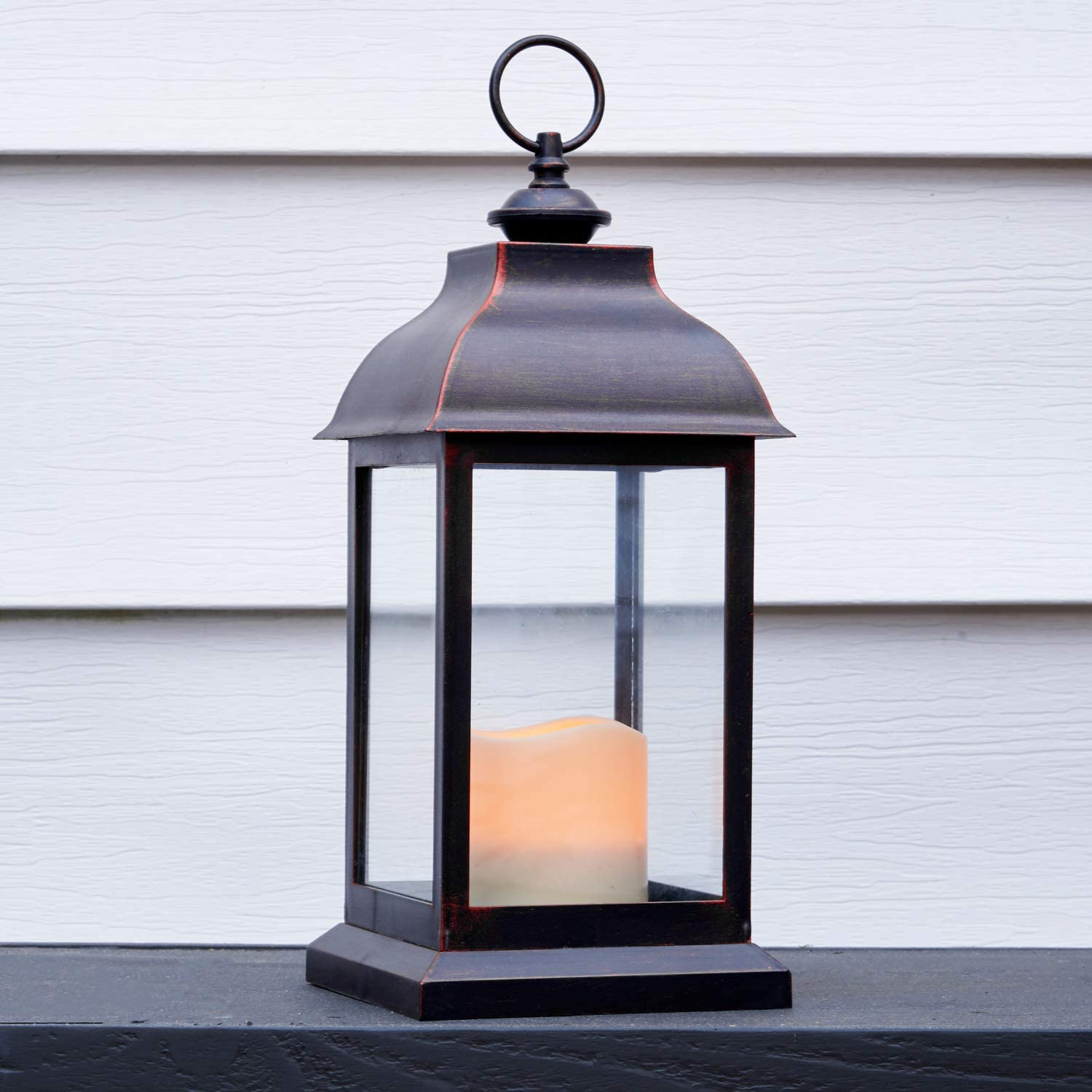 Outdoor LED Candle Lantern - 12 Inch Tall, Battery Powered, 6 Hour Timer, Waterproof, Rustic Bronze Finish, Hanging Hook, Flickering Flameless Light, Decorative Halloween Lighting