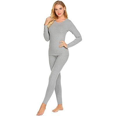 Ekouaer Women Long Johns Ultra Soft Thermal Underwear Fleece Lined Winter Base Layering Set S-XXL at Women's Clothing store