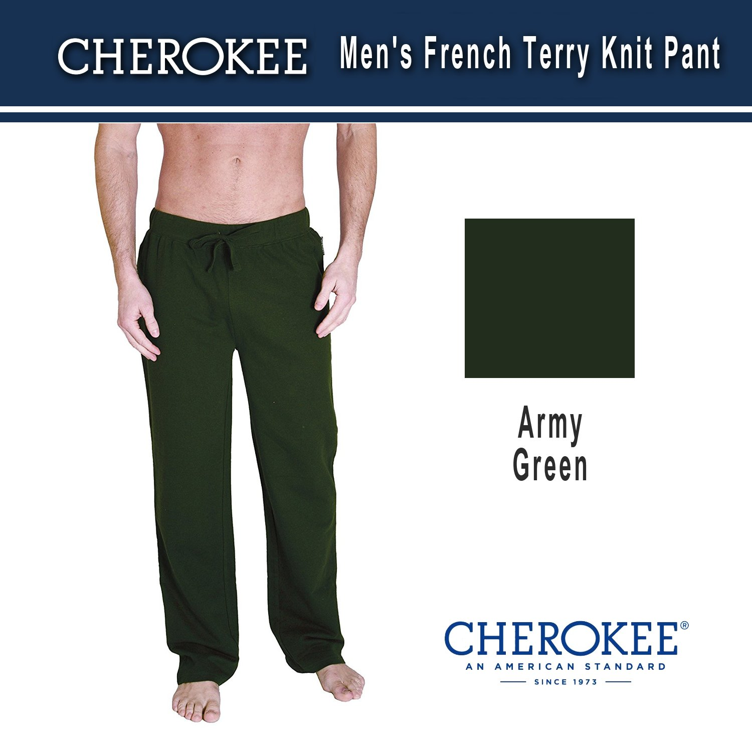 e473cef5fb Cherokee Men Relaxed French Terry Knit Pants Sleepwear at Amazon Men s  Clothing store