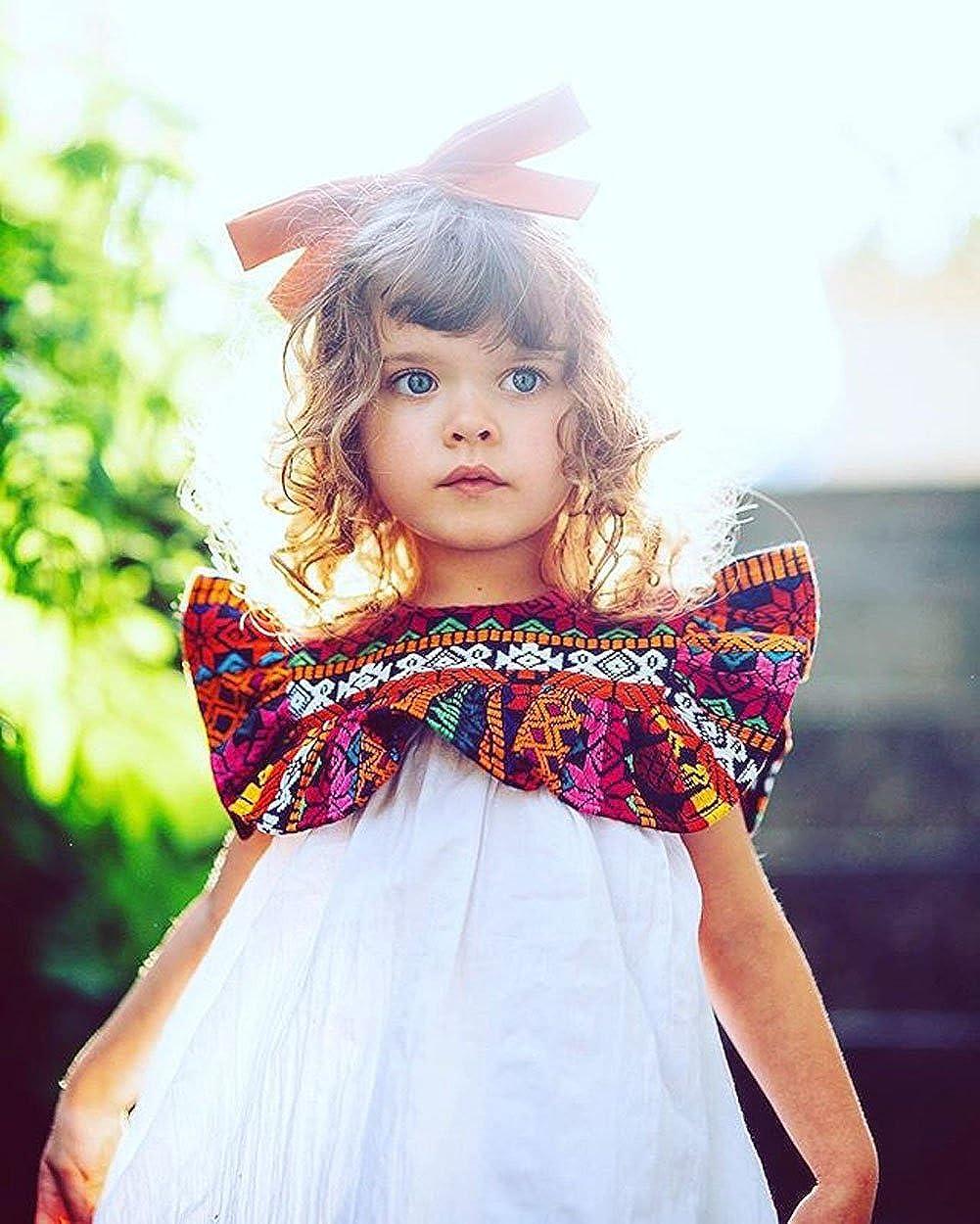 Summer Infant Toddler Baby Girl Ethnic Ruffle Sleeve T-Shirt Top Dress