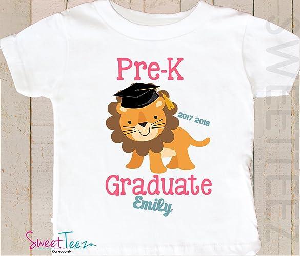 4bd4256bc Amazon.com: Pre-K Graduation Shirt Personalized Toddler Shirt Preschool  Graduation Shirt Gift Lion Kids: Handmade