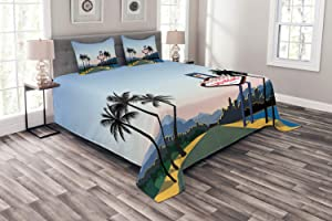 Ambesonne Las Vegas Bedspread, Silhouette of The City with a Welcome Sign Nevada State America in Cartoon Design, Decorative Quilted 3 Piece Coverlet Set with 2 Pillow Shams, Queen Size, Green Blue