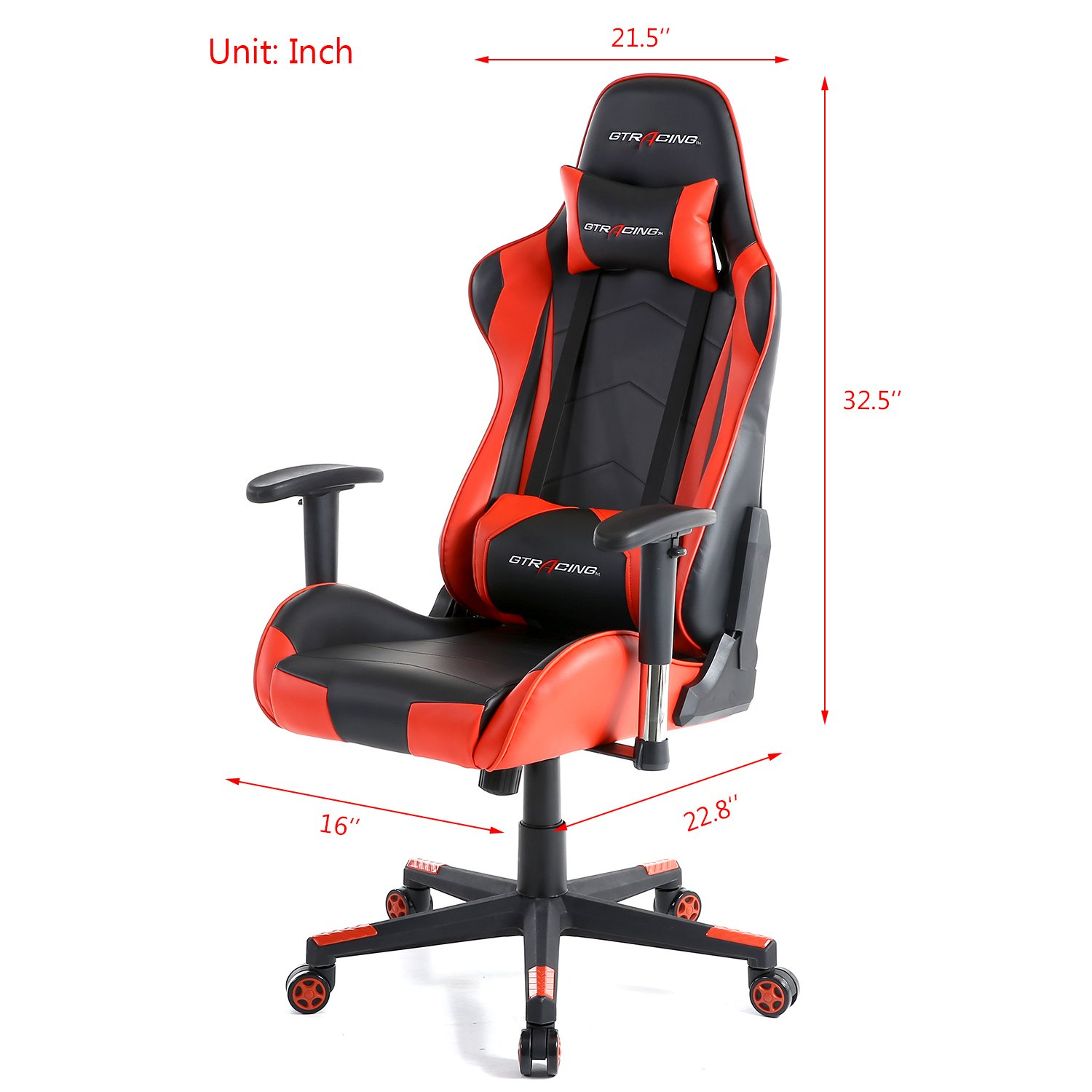 GTracing Ergonomic Office Chair Racing Chair Backrest and Seat Height Adjustment Computer Chair With Pillows Recliner Swivel Rocker Tilt E-sports Chair (Black/Red) by GTRACING (Image #8)