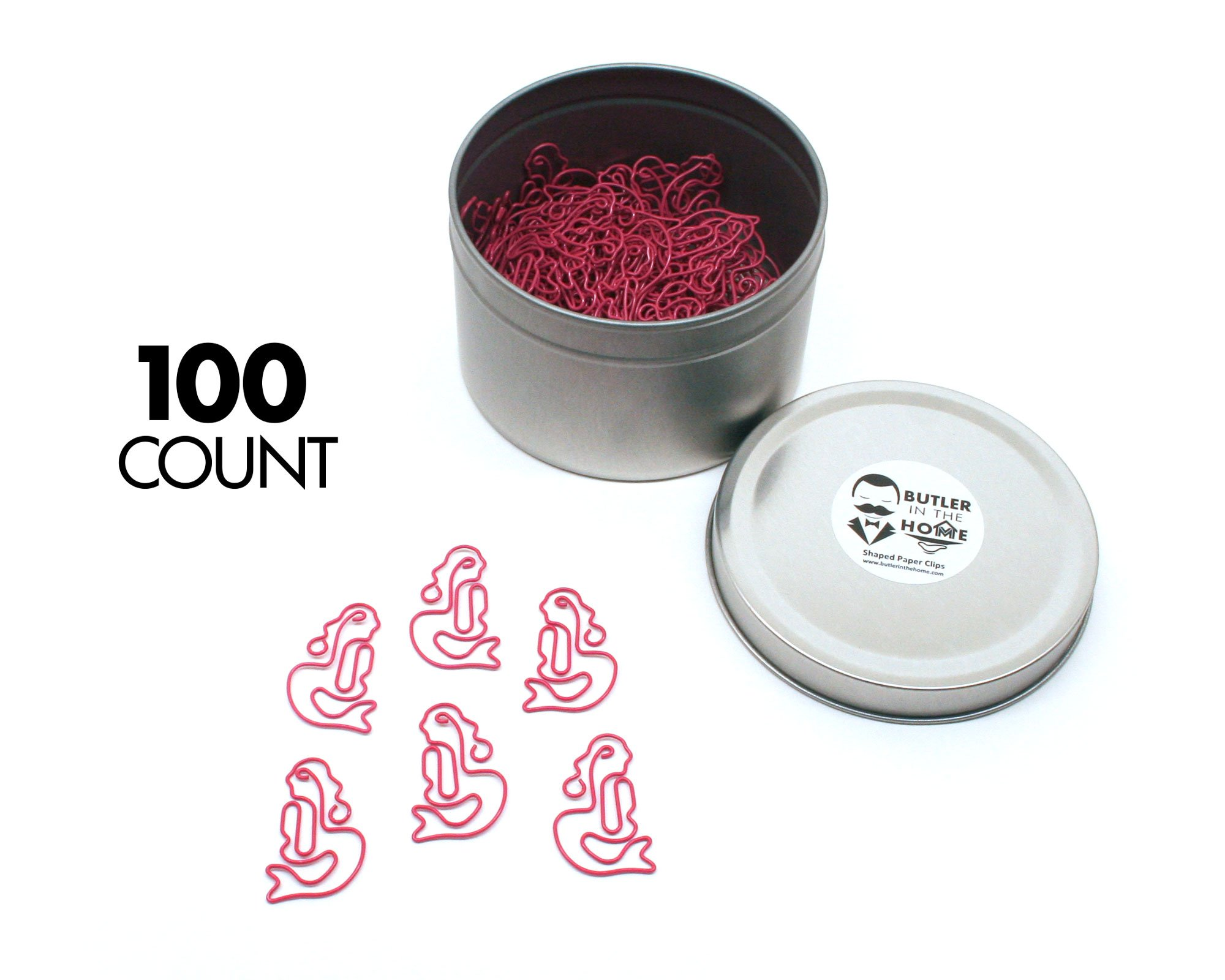 Butler in the Home Mermaid Shaped Paper Clips Great For Paper Clip Collectors or Office Gift - Comes in Round Tin with Lid and Gift Box (100 Count Pink)
