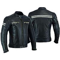 Jaqueta de couro de motocicleta para homens com armadura para motociclistas e motociclistas, armadura protetora…