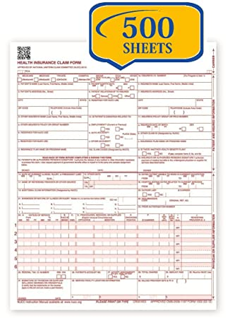 picture about Cms 1500 Form Printable identified as Fresh CMS 1500 Declare Sorts - HCFA (Model 02/12) (500 Sheets)