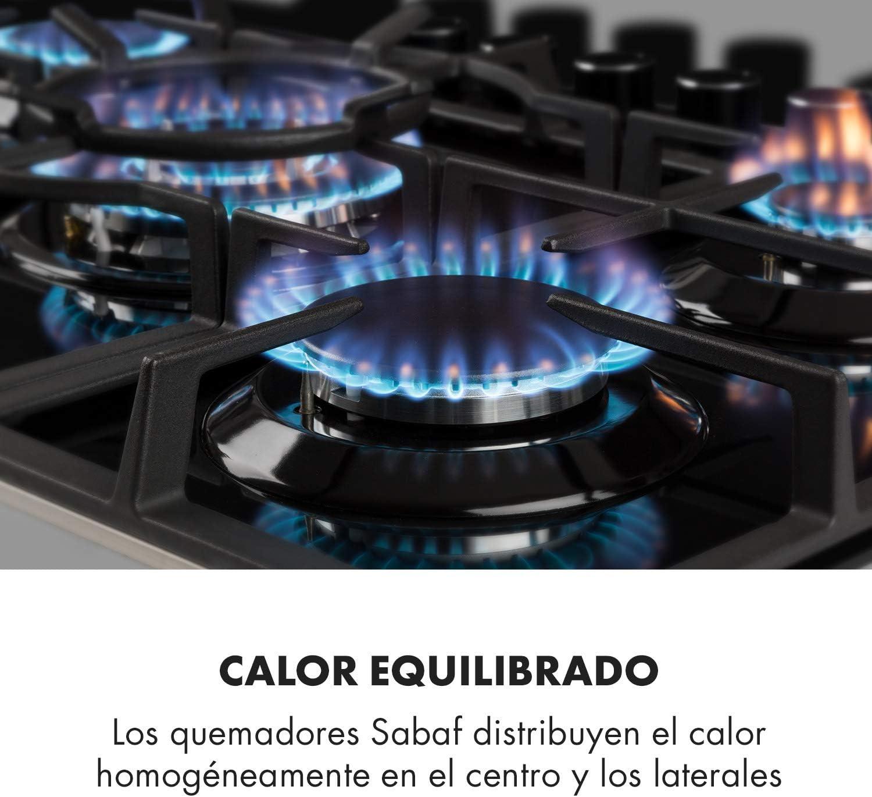 encastrable propano quemador Sabaf v/álvula de ventilaci/ón portasartenes magn/ético 4 fogones negro hierro fundido 60 cm autoapagado Klarstein Illuminosa gas natural placa de cocina de gas