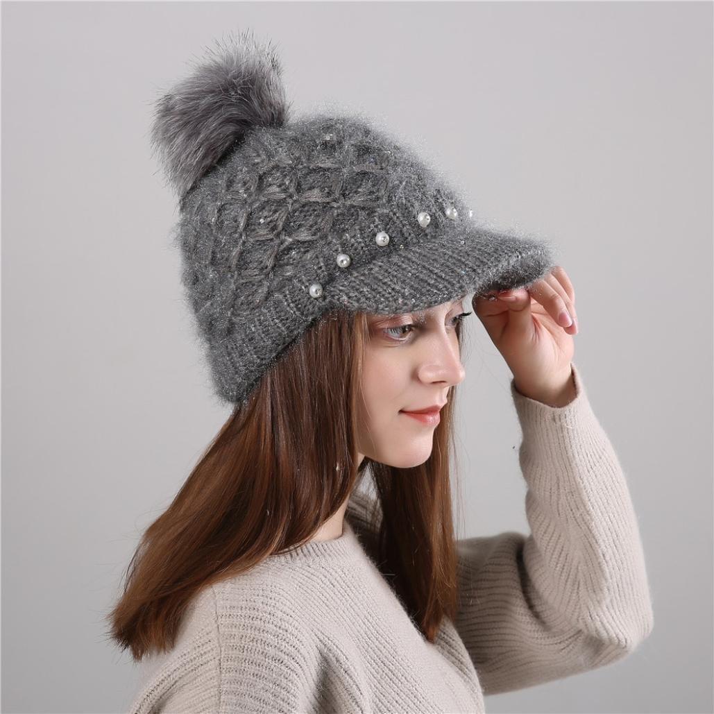 Pecora da Donna Cappello, Yanhoo Berretto a Maglia in lana Merino Intrecciato Cappello Francese Beret per Inverno Autunno Colore Solido Beige)