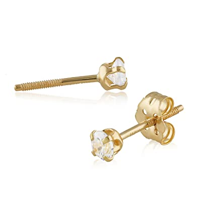 f6c0098cb Amazon.com: Balluccitoosi 14k Gold Tiny Stud Piercings Earrings for Women &  Girls - Real Hypoallergenic for Sensitive Ears, Small & Minimalist (White  Cubic ...