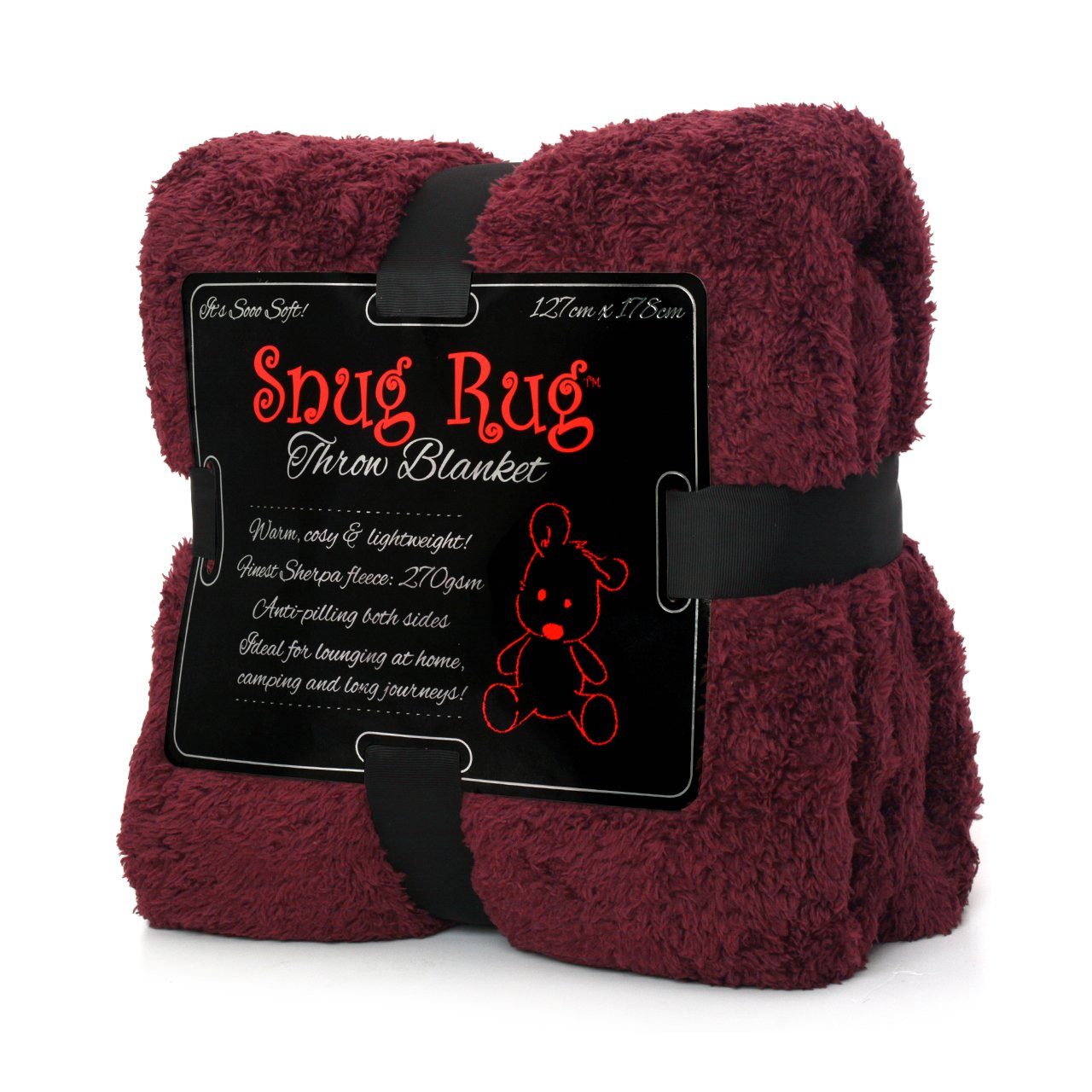 ギフト家International Snug Rug Special Edition LuxuryシェルパフリースSnug Rug Throwブランケット、Mulberryレッド、127 x 178 cm (50 cm x 70 cm) B01BFI8G7Y