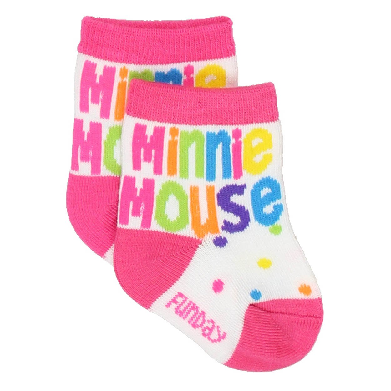 Size 6-8, 3 Pairs Disneys Minnie Mouse Assorted Color//Design Kids Socks Set