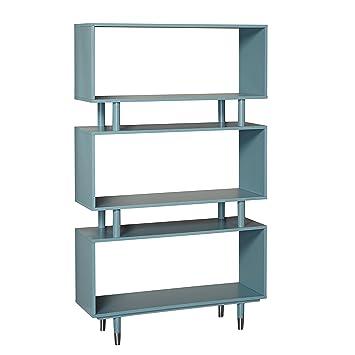 Target Marketing Systems 43000BLU Margo Mid-Century Modern Bookshelf,  Antique Blue