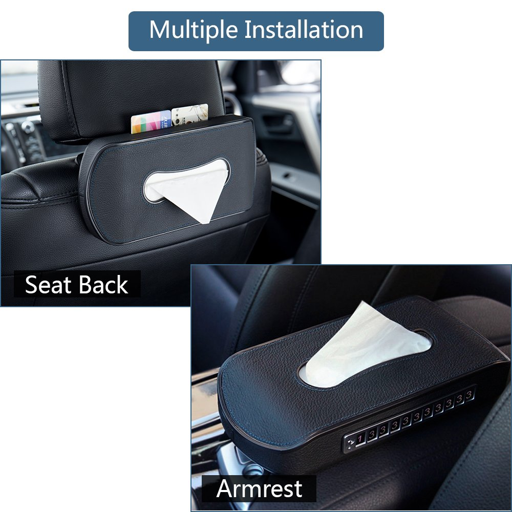FMS Black Leather Car Visor Tissue Holder Mount Hanging Tissue Holder Case for Car Seat Back Multi-use Paper Towel Cover Case with One Tissue Refill for Car /& Truck Decoration