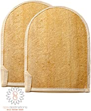 Natural Loofa Exfoliating Bath Mitt by Spa Destinations (Two (2) PACK)