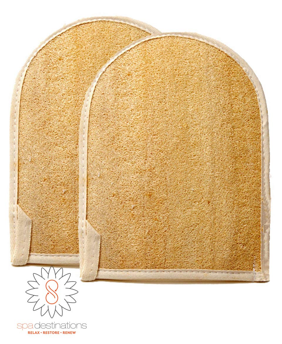 Natural Loofa Exfoliating Bath Mitt by Spa Destinations (Two (2) PACK)Creating The In Home Spa Experience 100% Satisfaction Guarantee! Great Value!