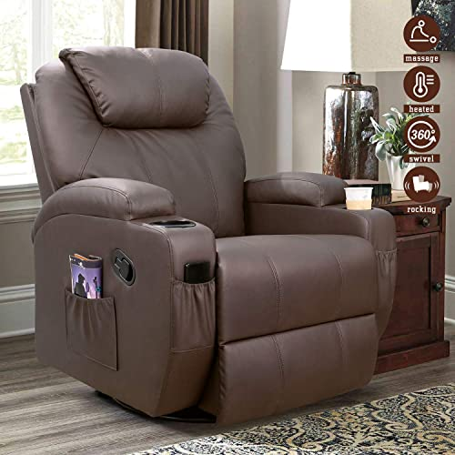 Furniwell Recliner Chair Massage Leather Living Room Chair Home Theater Seating Heated Overstuffed Single Sofa 360 Swivel and Rocking Brown