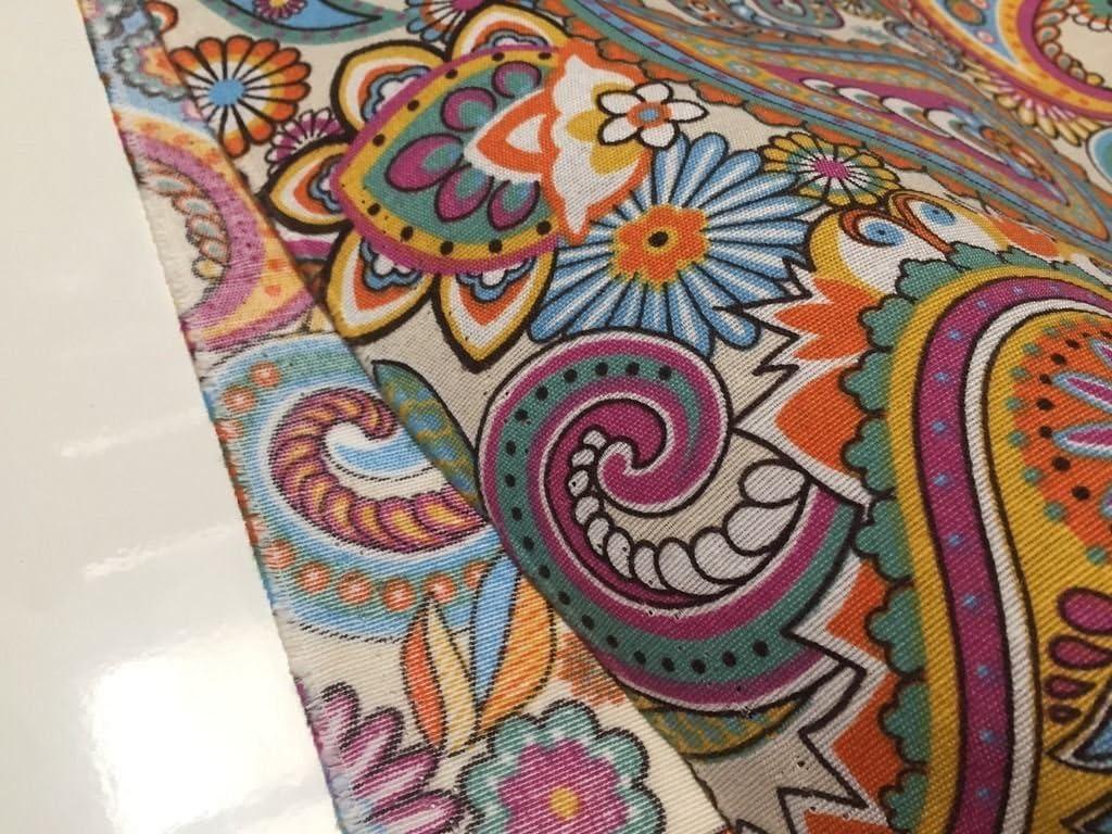 Multi Coloured Diagonal Embroidered Swirls 100/% Cotton Fabric 140cm Wide