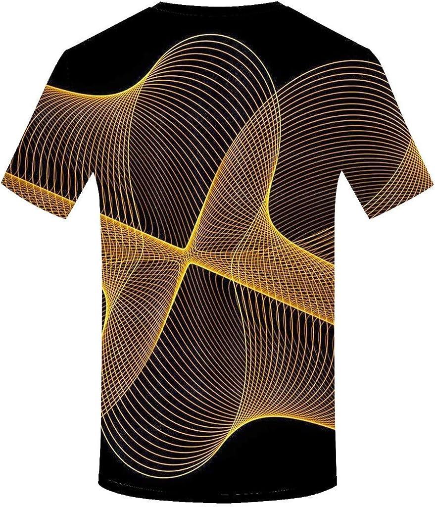 LANSKIRT Camiseta Hombre Manga Corta Camisa de Cuello Redondo Impresa En 3D Digital de Hombres Blusa Estampadas T Shirt Tops Verano Casual Talla Grande S-XXXL: Amazon.es: Ropa y accesorios
