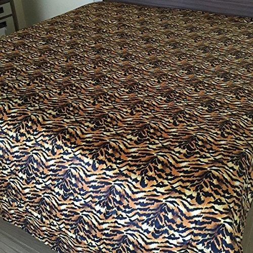 Waletone Linen Twin Size Tiger Print Cotton Fitted Bottom Sheet, 400 TC, Pocket Depth Upto 21 ()