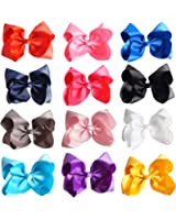 """CN Large Baby Girls Hair Bows,12pcs 8"""" Solid Color Big Hair Clips Boutique Grosgrain Ribbon Alligator Clips Hair Bow For Infant Toddler"""