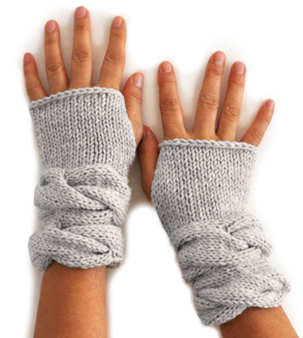 Inca Fashions - Chunky Cable Texting Mittens - Wrist Warmer Fingerless Gloves