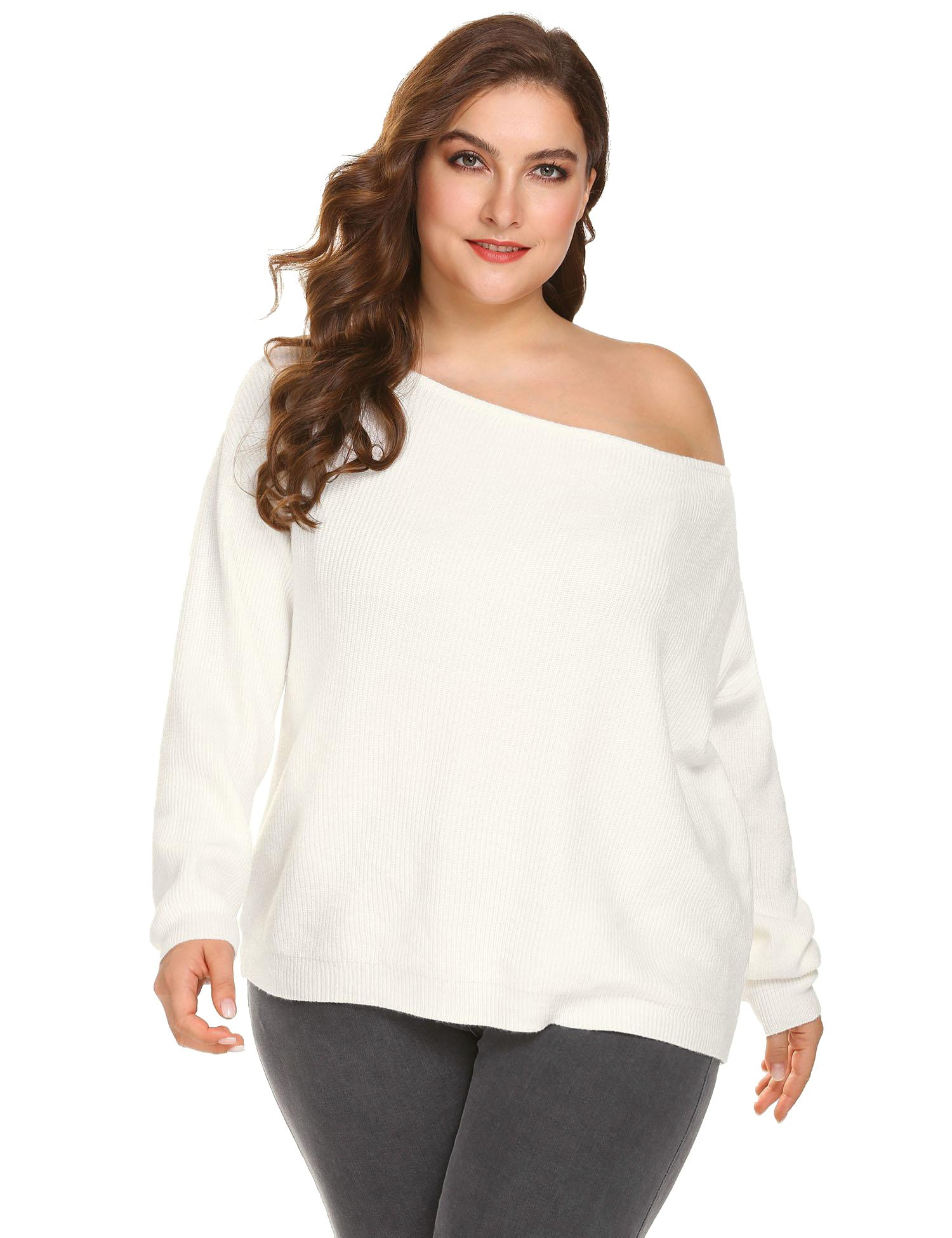 VPICUO Womens Plus Size Sweater Cold Shoulder Knit Tops Sexy Off Shoulder Slouchy Oversized Pullover Sweaters