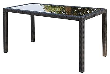 Polyrattan Tisch Mit Glasplatte.Ambientehome Polyrattan Tisch Inkl Glasplatte Esstisch Lubango Gold Braun Ca 140 X 70 Cm