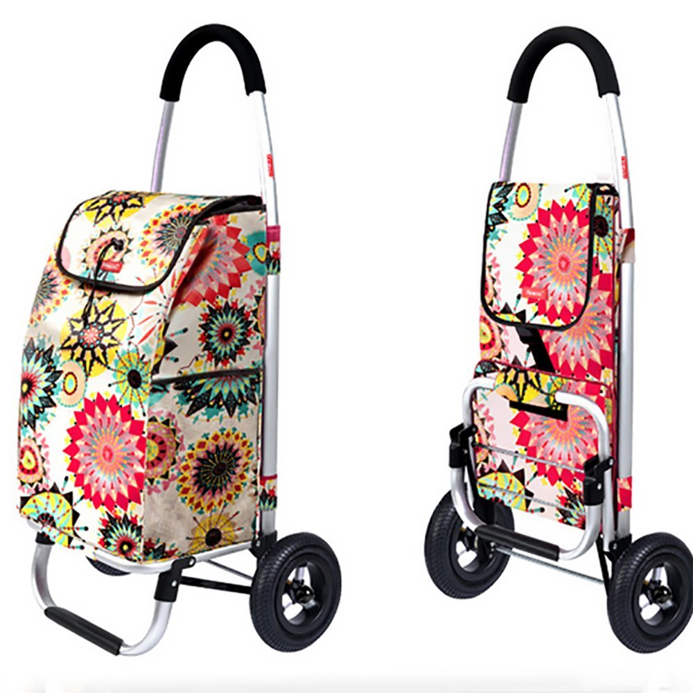Aluminum Alloy Frame Shopping Cart Trolley Dolly Multifunction High Capacity Shopping Grocery Foldable Utility Cart Capacity: 55L Inflatable Rubber Wheel, Black HCC&