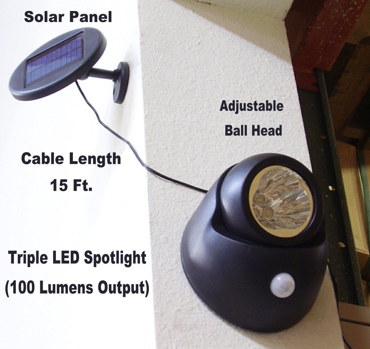 Solar Power Security Spotlight with Motion Sensor, 100 Lumen