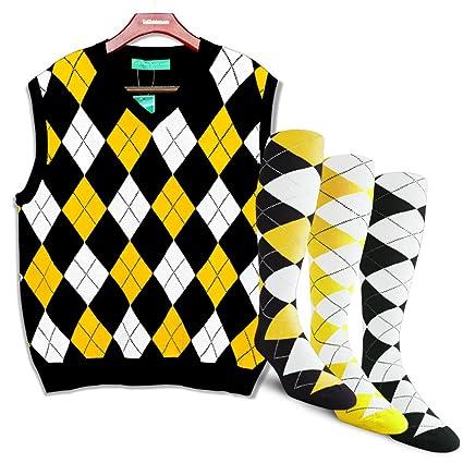 Golf Knickers Argyle Sweater Vest and 3 Sock Set  Mens - Pullover Golf Vest  - 25e22e293