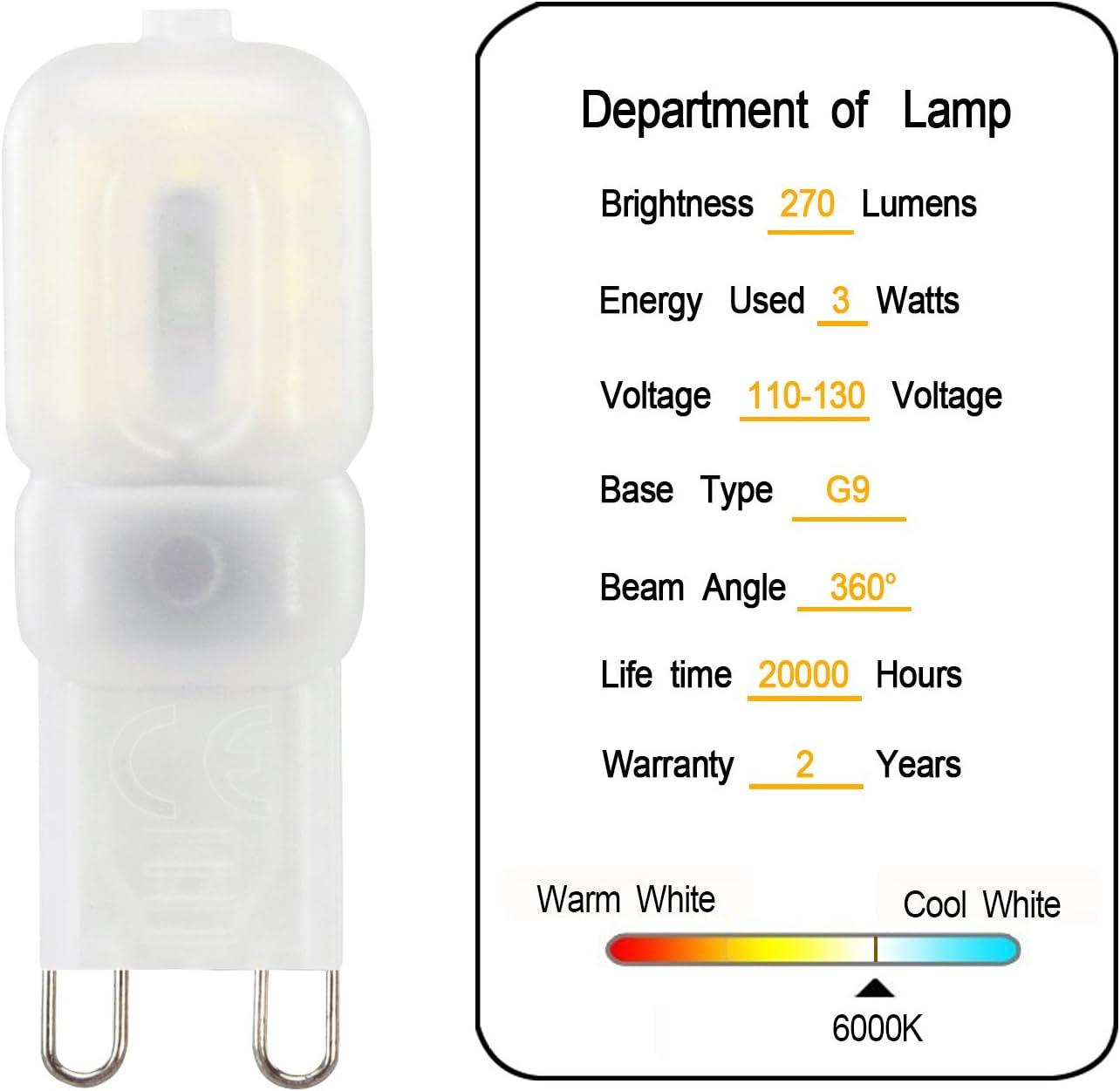 Velouer Indoor Lighting G9 Led Light Bulbs Dimmable G9 Bulb 3W LED Bulbs Replace 25W Halogen Warm White 3000K Energy Saving Bulb 10 Pack