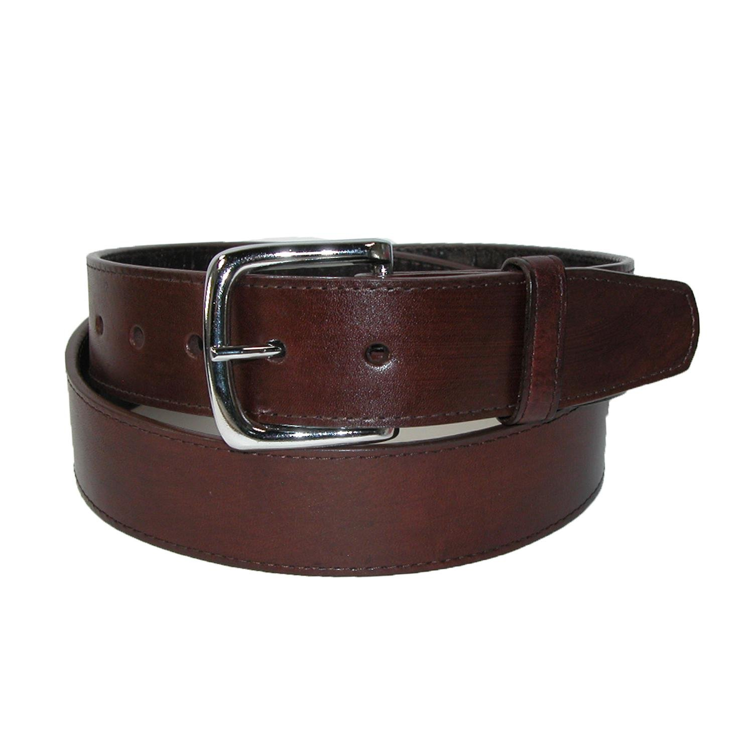 CTM Men's Leather Money Belt Removable Buckle, 38, Brown