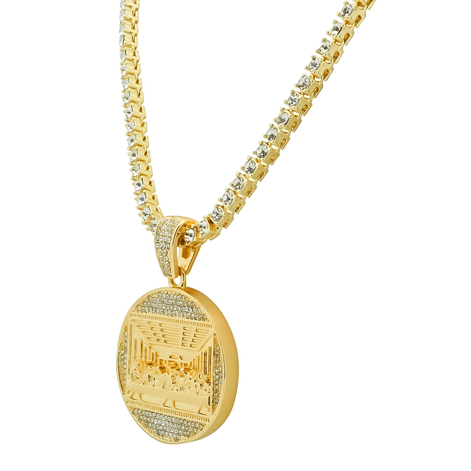 Yellow Gold-Tone Iced Out Hip Hop Bling The Last Supper Pendant 1 Row Stones Tennis Chain 24 Necklace Choker Chain