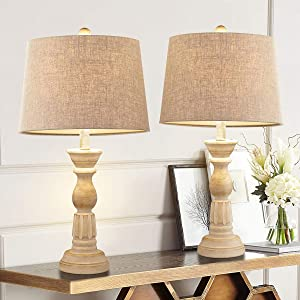 Oneach Table Lamps Set of 2 for Living Room Bedside Desk Lamps Vintage Bedroom Lamps for Study Kids Room Office White Washed