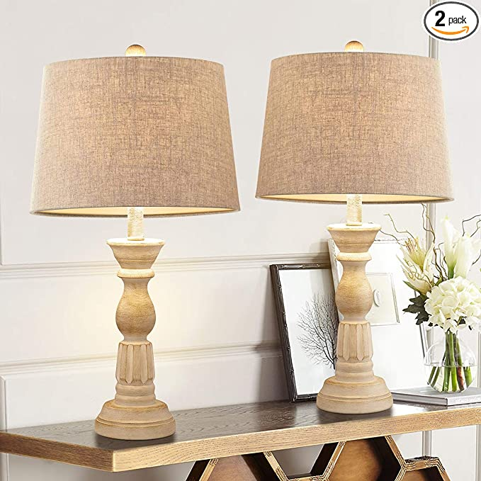 Oneach Table Lamps Set Of 2 For Living Room Bedside Desk Lamps Vintage Bedroom Lamps For Study Kids Room Office White Washed 23 5 Inches Home Improvement Amazon Com
