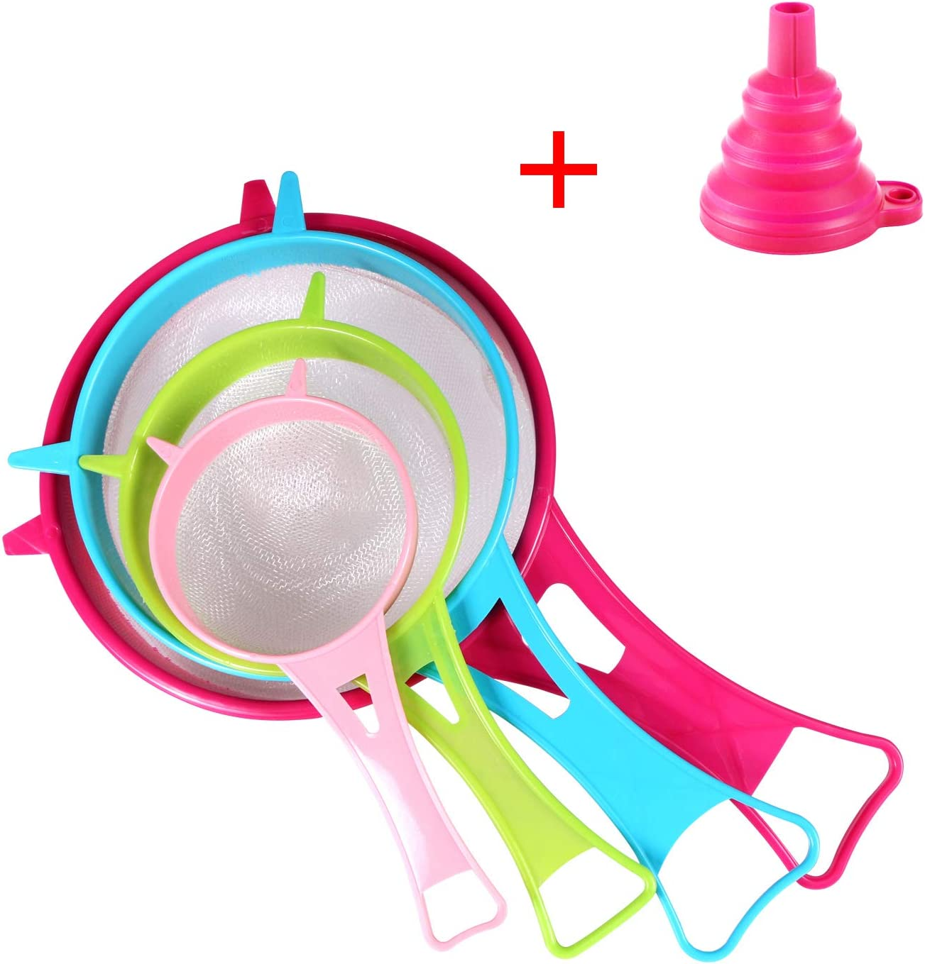 BENBO Fine Mesh Strainer Colander Set, 4Pcs Plastic Food Soy Milk Flour Sieve Long Handle Icing Sugar Sifters Strainer Tea Filter and Silicone Foldable Funnel for Kitchen