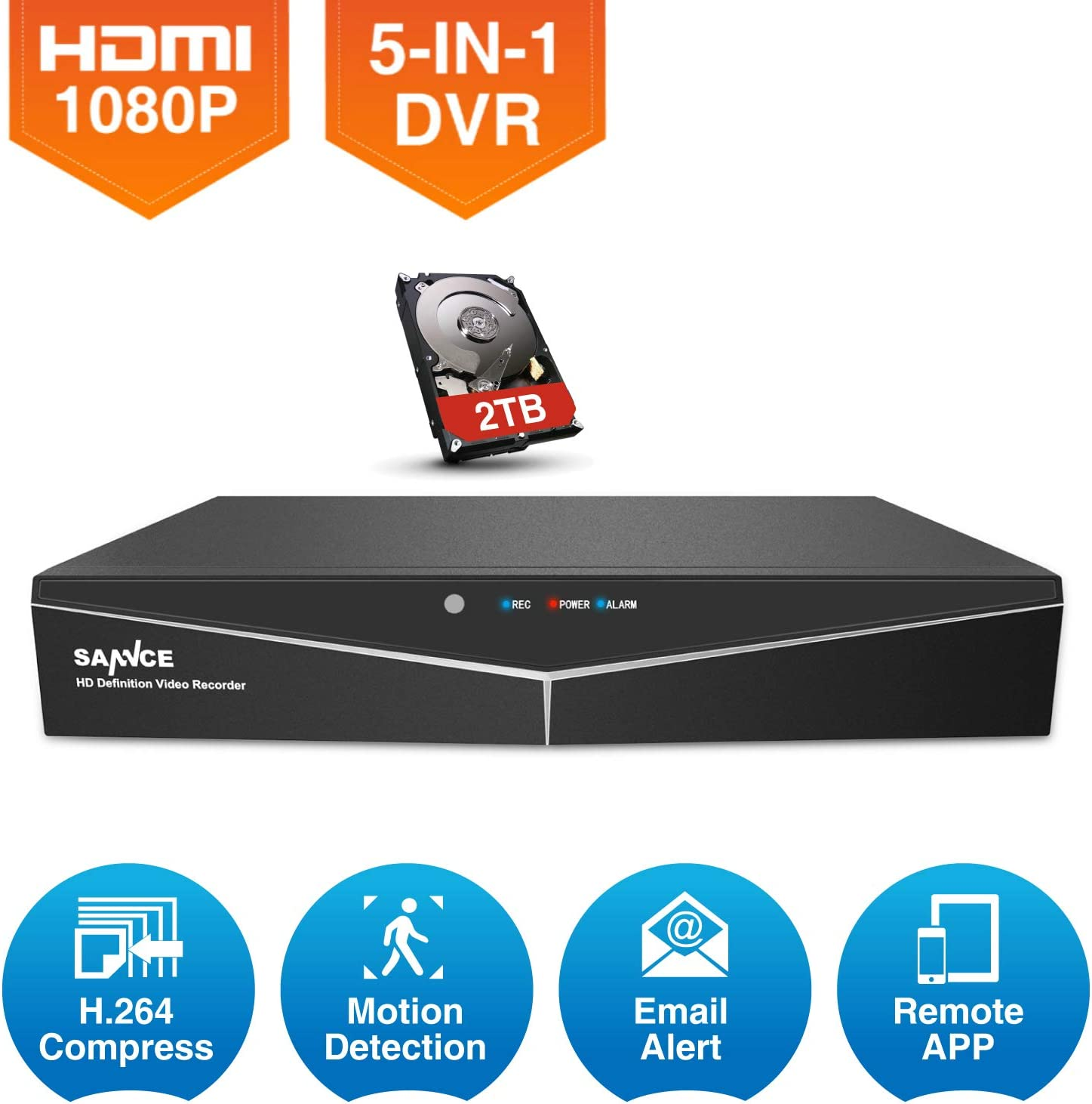 SANNCE 2TB HDD 16CH 1080N 5IN1 H.264 DVR Video Recorder CCTV Security System APP