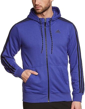 dfe3ead8b adidas Essential 3 Stripe Mens Hoody - Purple-XXL: Amazon.co.uk: Clothing
