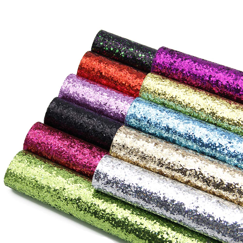 David accessories Glitter Sequins Fabric Faux Leather Sheets Synthetic Leather Fabric 11 Pcs 8'' x 13'' (20 cm x 34 cm) Assorted Colors Thick Canvas Back Craft for DIY Earrings Making (11 Color)
