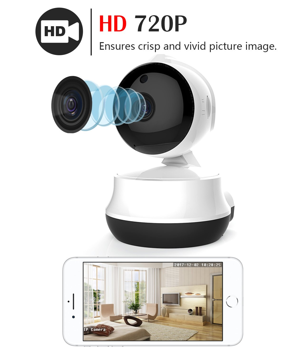 MoKo IP Camera, 720P Wireless Home Security Dome Camera Indoor WiFi Surveillance Camera with Night Vision for Baby/Elder/Pet/Nanny Monitor, Motion Detection ...