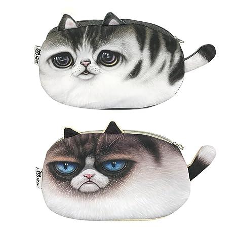 Jun Juego de 2 bonitos estuches para cosméticos de gato con cara de gato para guardar