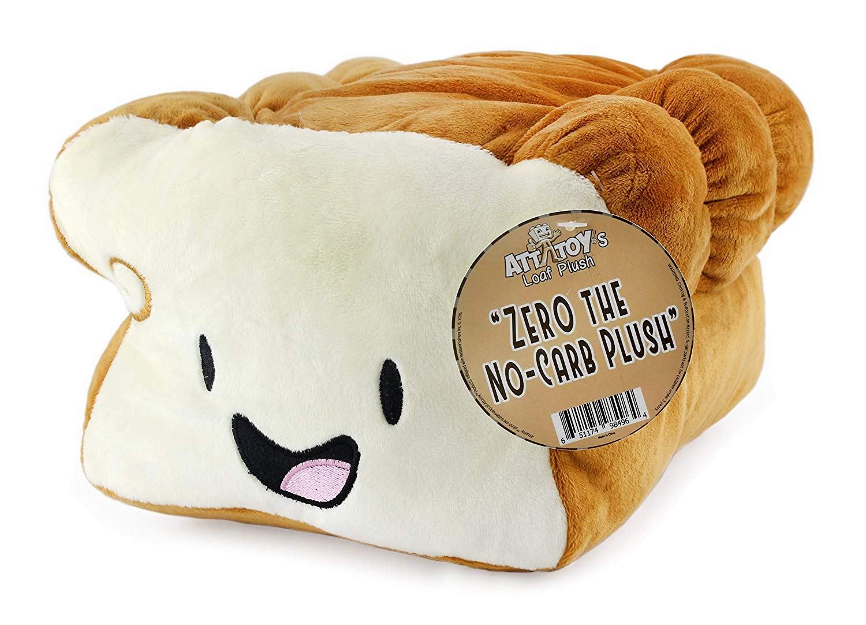 "Attatoy Bread Plush Pillow ""Zero, The No-Carb Plush"" Toy 12"" x 9"" x 6"" Stuffed Loaf of Bread"