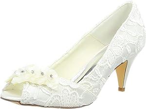 JIAJIA 5949420 Womens Bridal Shoes Peep Toe Cone Heel Lace Satin Pumps Satin Flower Rhinestone Wedding