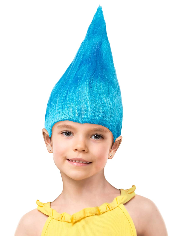 Balinco Troll Perruque pour Enfants Filles /& Gar/çons en Rose Rose Turquoise et Vert comme Suppl/ément pour Le Trolls Costume an Carnaval et Carnaval