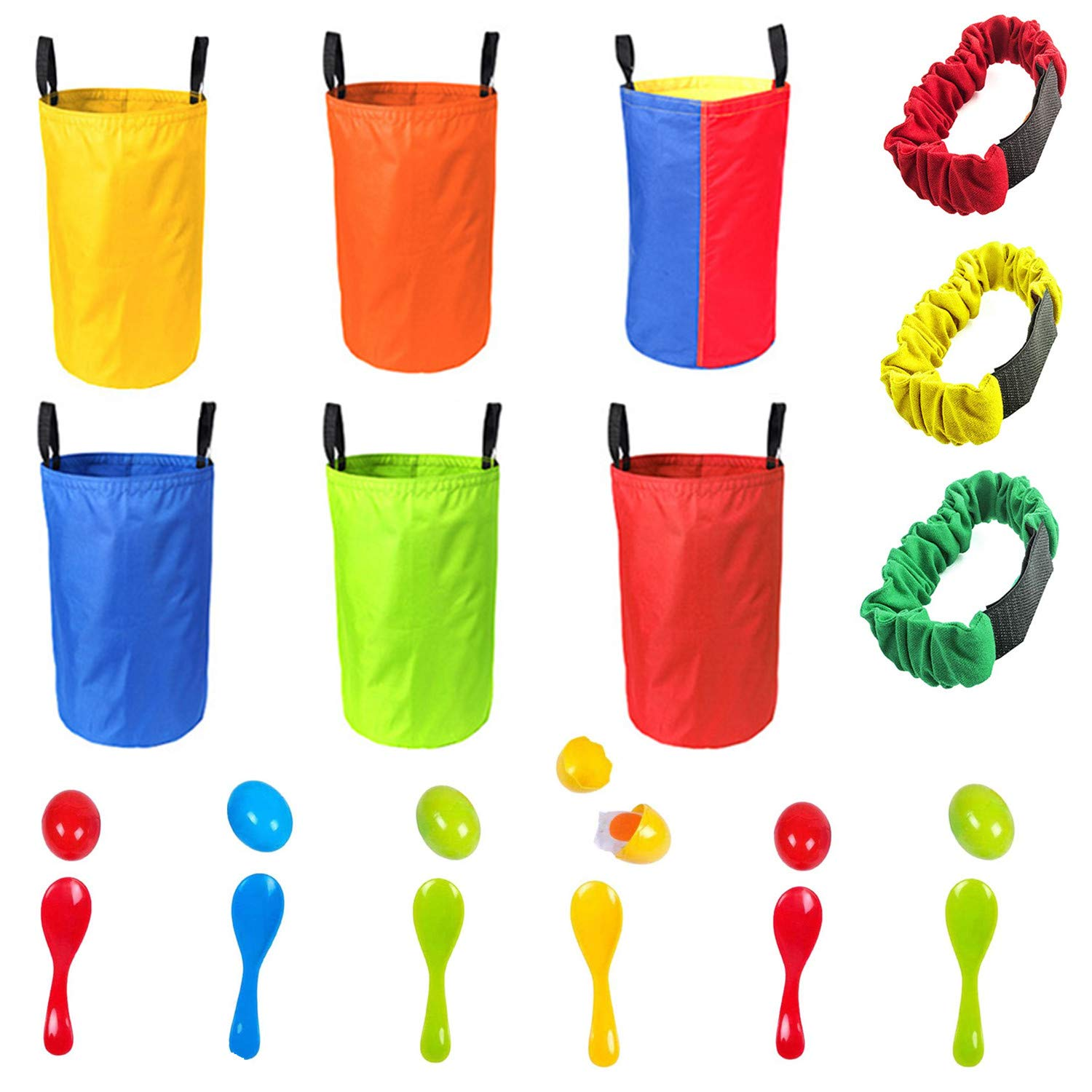 Game Set For Outdoors 6 Sack Race Bags, 6 Spoons and Eggs and 3 Adjustable Leg Bands Party Games For All Ages Kids in School or Family Parties