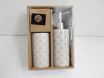 Bad Accessoires Set zwei Stück Keramik Weiß und Taupe Shabby Chic ...