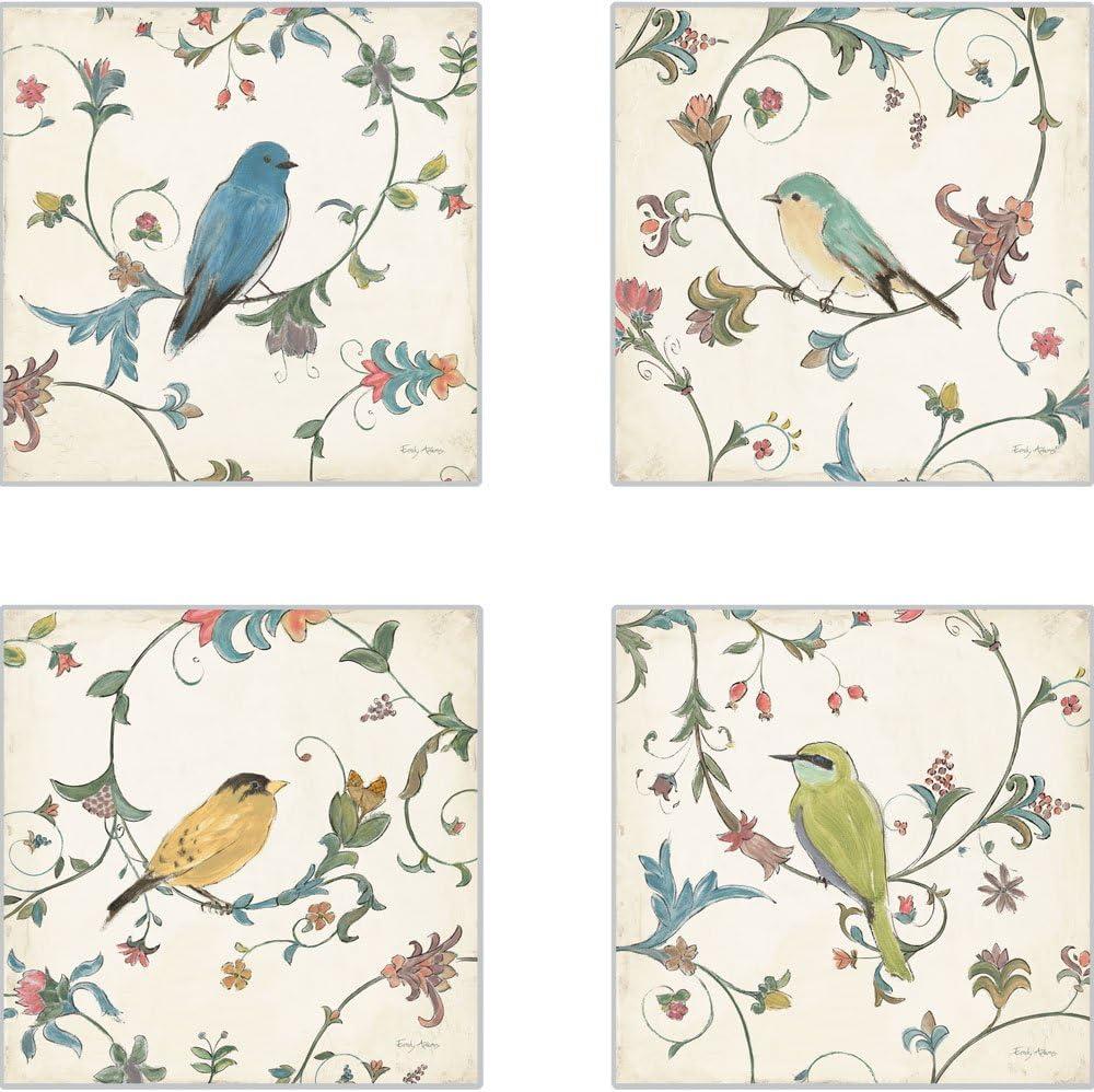 CoasterStone Bird's Gem Absorbent Coasters, 4-1/4-Inch, Set of 4