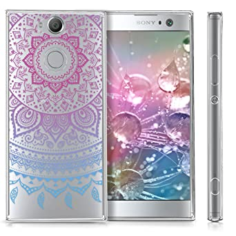 kwmobile TPU Silicone Case for Sony Xperia XA2 - Crystal Clear Smartphone Back Case Protective Cover - Blue/Dark Pink/Transparent
